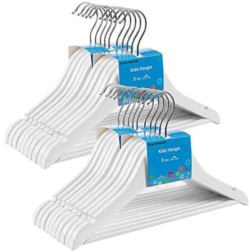 SONGMICS Solid Wood Children's Hangers 20-Pack Kid's Clothes Hangers with Trousers Bar Shoulder Notches 360 Degree Swivel Hooks 126 x 05 x 75 Inches White UCRW06WT
