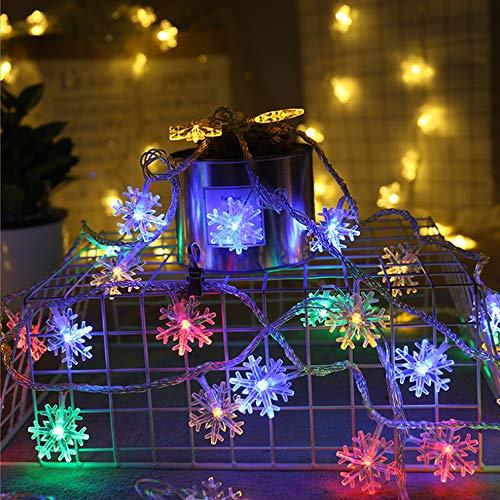 イルミネーションライト 雪型LED フェアリーライト 6M 40LED 電池式 LEDストリングライト ハロウィーンライト クリスマスライト 点滅ライト 防水 クリスマスツリー飾り クリスマス ハロウィン パーティー 新年 祝日 結婚式 告白 文化祭 学園祭 お祭り 家庭用飾り 舞台衣装 屋外 室外 室内 庭対応 商店街 (カラフル)