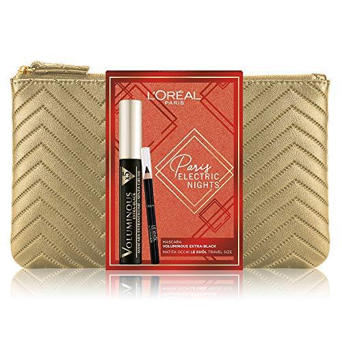 L'Oréal Paris Makeup Coffret Idée Cadeau Femme, Mascara Volumineux Extensible Voluminous Extra Black et Crayon Yeux Le Khol, Travel Size
