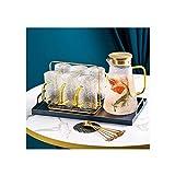 FHISD Set da tè Set di teiere in Vetro Regalo con Porta Tazza in Metallo Include 6 Tazze 6 cucchiai Un bollitore da tè Un Vassoio Grande Set da tè in Vetro Trasparente Set da tè con piattino filtr