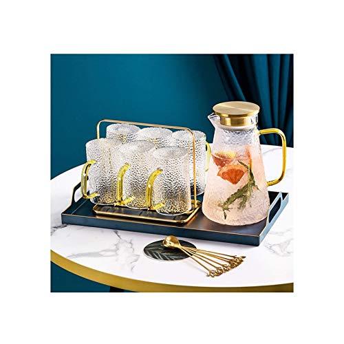 FHISD Juego de té Juego de Tetera de Vidrio de Regalo con Soporte para Taza de Metal Que Incluye 6 Tazas 6 cucharas Una Tetera Una Bandeja Grande Juego de té de Vidrio Transparente Tetera de filtr