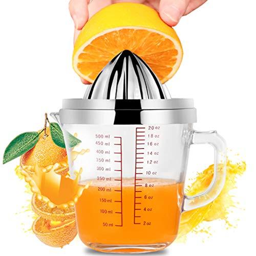 Exprimidor de Limón - Exprimidor Manual de Naranja Cítrica con Vaso Medidor de Vidrio de 20oz y Exprimidor de Rotación de Tapa de Acero Inoxidable Antideslizante