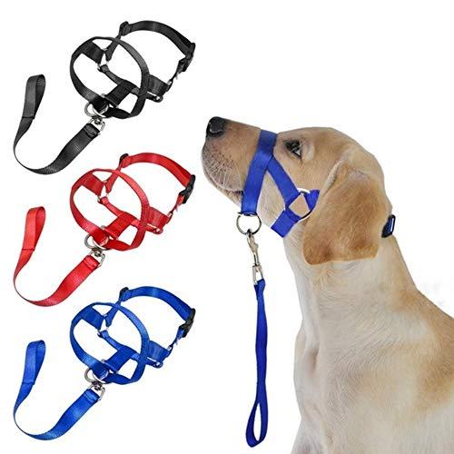Jiandong 1 Stück Einstellbare Anti-beißt Hund Mundschutz Hundeleine Kopf Kragen-Haustier-Halter Leine Hundemaulkorb Hund Padded Collar Kopf (Color : Blue, Size : L)