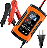 JAOK Car Battery Charger, 5 Amp 12V Automotive Smart Battery Charger/Maintainer for Car, Motorcycle, Lawn Mower, Boat, RV, SUV, ATV and More (Orange)