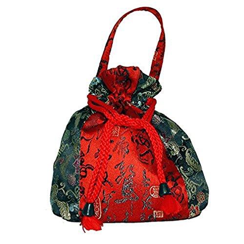 Seidenbeutel sehr dekorativ mit asiatischen Ornamenten ca. 21 x 23 cm