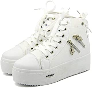 Adult Women's Flat Floral High Top Lace up Casual Canvas Shoes Fashion Sneakers