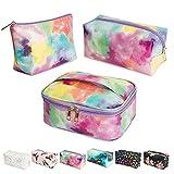 Makeup Bag 3Pcs Portable Travel Cosmetic Organizer Multifunction Waterproof Storage Bag Cute Toiletry Bags for Women and Girls