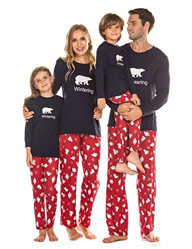 Damen Pyjama Schlafanzug Lang Zweiteilige Nachtwäsche Set Sleepwear aus Baumwolle Langarm O-Aussschnitt Hosen Hausanzug für Frauen Blau XXL