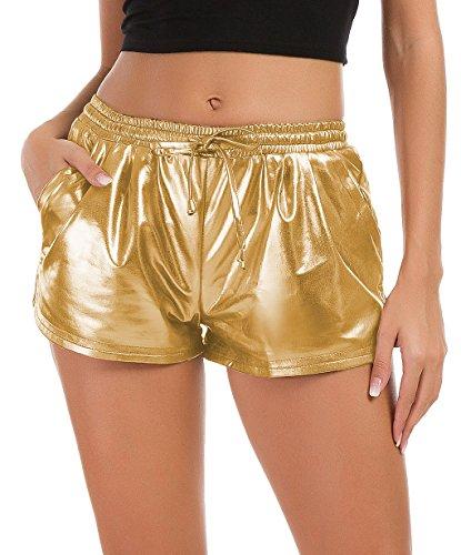 Tandisk Women's Yoga Hot Shorts Shiny Metallic Pants with Elastic Drawstring Gold L
