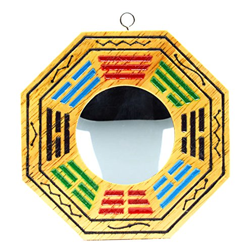 4 Inch Bagua Mirror Feng Shui Wood Mirror (concave)