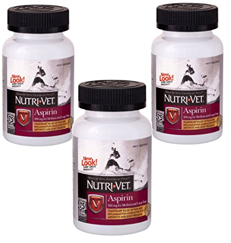 Nutri-Vet (3 Pack) K-9 Aspirin Chewables, 75 Count Each