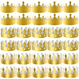 SIQUK 27 Pieces Golden Paper Crown Party Gold Crowns Hats King Crowns for Party and Celebration