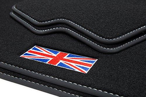 teileplus24 500-FBA Esteras Coche,Union Jack' con Costuras Decorativas y Logotipo