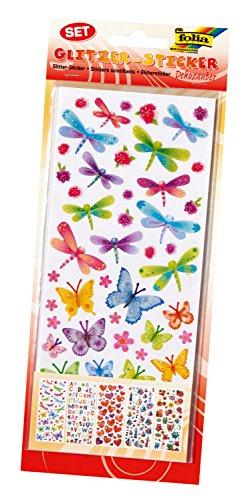 folia 1410 - Glitzer-Sticker Dekozauber, ca. 10 x 23 cm, 5 Blatt, Motive sortiert - ideal geeignet zum Verzieren von Grußkarten, Bastelarbeiten und Scrapbooking