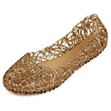 SUNAVY Damen Hohl Flach Gelee Sandalen Bird-Nest Ballett Weich Plastik Schuh,36 EU, Gold