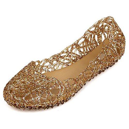 SUNAVY Damen Hohl Flach Gelee Sandalen Bird-Nest Ballett Weich Plastik Schuh,37 EU, Gold