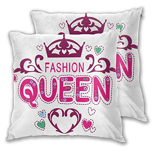 LISNIANY Cushion Cover,Queen Fancy Girlish Fashion Print,Pillow Case Cover Square Cushion Cover for Sofa Car Home Bed Decor 45 x 45cm