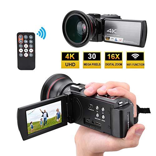 HDR-AE8 videocamera 4K HD 16X digitale zoom camcorder 3,0 inch touchscreen nachtzicht YouTube vlog videocamera, geschikt voor microfilms, reizen, bruiloften etc. (met batterij)