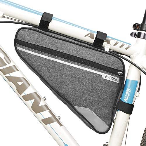 VOANZO Bolsa para bastidor de almacenamiento de bicicleta, bolsa de triángulo para bicicleta impermeable Bolsa de silla de gran capacidad para ciclismo de montaña de carretera 290 x 200 x 50 mm (gris)