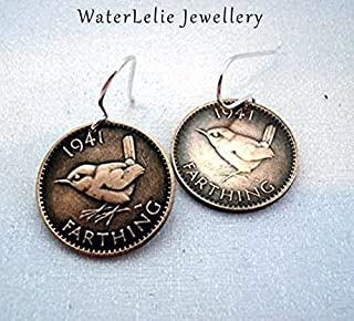 Wren Coin Earrings. Antique Farthing earrings. Bird Coin earrings. Coin jewelry.