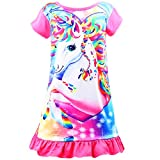 Sylfairy Girls Nightgowns, Unicorn Nightgown Princess Pajama Dresses for Girls Sleepwear Nightie Rose Red