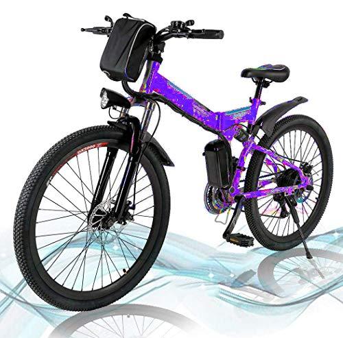 Mountain Bike Pieghevole, Bici elettriche da Strada a Sospensione Completa con Freni a Disco, Bici da Mountain Bike per Uomo a velocità di Shock, Bici da MTB a Sospensione Completa R