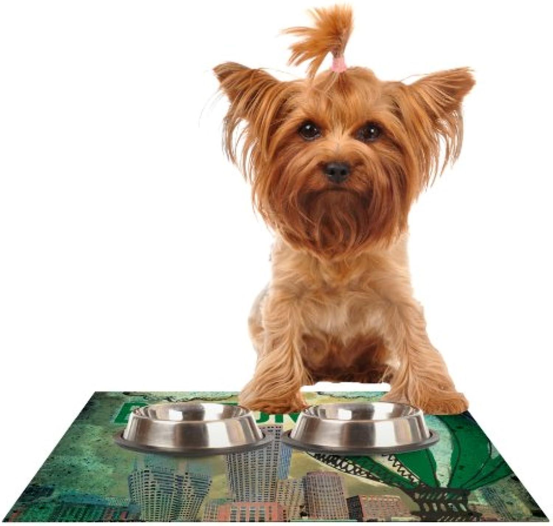 KESS InHouse iRuz33 Boston  Feeding Mat for Pet Bowl, 18 by 13Inch