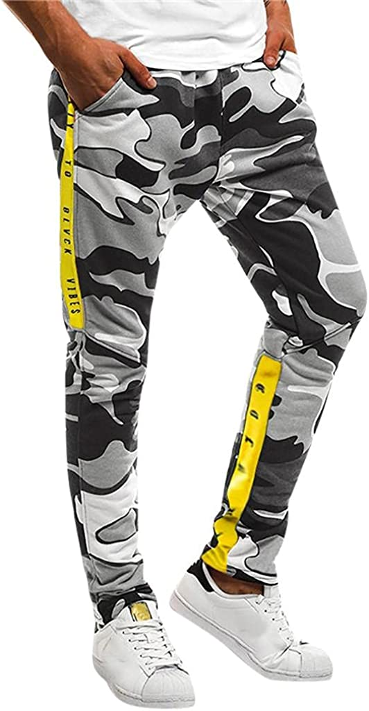 Beshion Mens Cargo Pants Slim Fit Casual Jogger Sweatpants Work Splicing Camouflage Overalls Athletic Trousers with Pocket