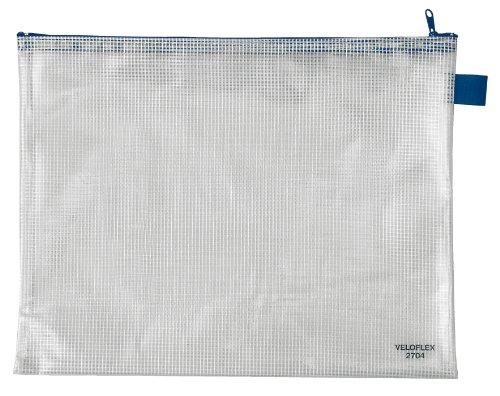 Veloflex 2704000 Reißverschlusstasche A4 Reißverschlussbeutel Dokumententasche PVC gewebeverstärkt transparent