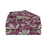 King Flannel Sheet & Pillowcase Set | 100% Cotton | Deep Pockets | Soft, Luxurious, and Warm | Paisley - Purple