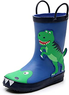 Kids Rain Boots for Toddler & Little Kids, Animal Print Raining Shoes Lightweight Waterproof Boy & Girls Rubber Boots for Kids Age 1-6 with Easy-on Handles