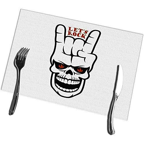 sunnee-shop eettafel placemats set van 4 Lets rockmuziek in verband met schedel en handgebaar creatief design vintage