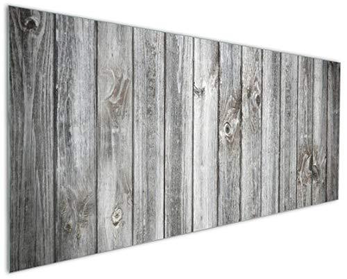 Wallario Küchenrückwand aus Glas, in Premium Qualität, Motiv: Holz-Optik Textur hellgraues Holz Paneele Dielen mit Asteinschlüssen | Spritzschutz | abwischbar | pflegeleicht