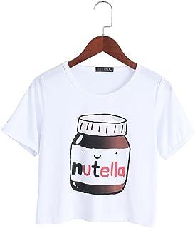 ジャッキーホワイトボトルレターヌテラTシャツ-2Xl女性ヌテラプリントカワイイクロップトップスサマーショートスリーブTシャツ原宿フィットネス