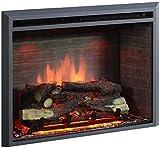 RICHEN Chimenea eléctrica Calida - Chimenea incorporada con calefacción, iluminación LED, efecto de llama 3D y control remoto - Negro
