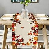 runner da tavolo, effetto lino, per l'autunno, per la casa, per la sala da pranzo, feste, vacanze, decorazione – 40 x 140 cm – beige