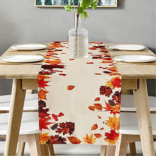 Camino de mesa con aspecto de lino, mantel para otoño, elegante para el hogar, para comedor, fiestas, vacaciones, decoración, 40 x 140 cm, color beige