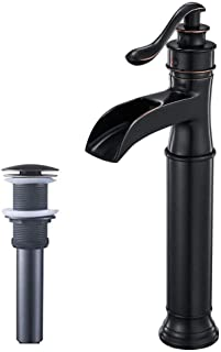 Homevacious Tall Bathroom Vessel Sink Faucet Oil Rubbed Bronze Waterfall Single Handle Lavatory With Pop Up Drain Assembly Without Overflow One Hole Commercial Mixer Tap ORB Supply Line Lead-Free