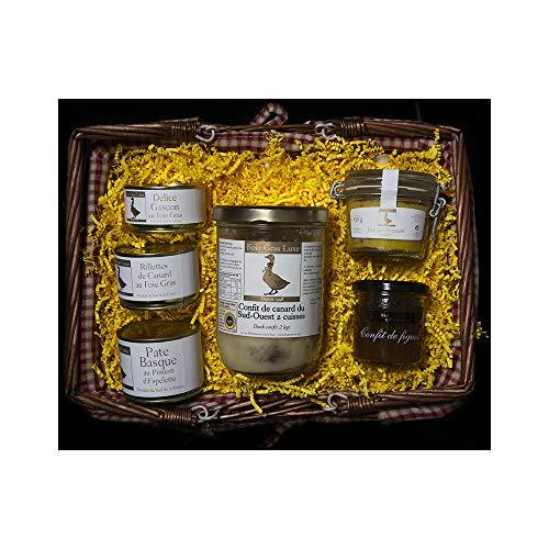 Panier Foie Gras Confit - Panier gourmand coffret Cadeau Sans Alcool - 5 spécialités de la Ferme au Foie Gras - 100% FR - Sans additifs Sans Conservateurs Sans OGM