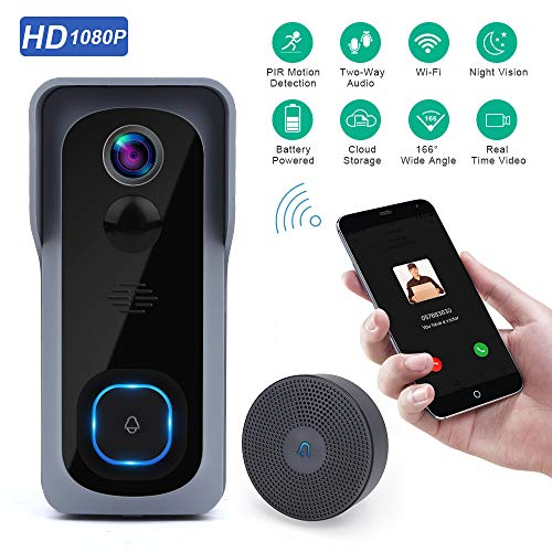 Wsdcam Doorbell Camera Wi-Fi with Motion Detector, Night Vision, 166° Wide Angle, Two-Way Audio,...