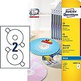 Avery Zweckform C6074-20 - Etiqueta autoadhesiva (Blanco, Círculo, Permanente, A4, CD/DVD, Papel)