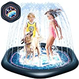 Perkypack Splash Pad, Sprinkler for Kids Toddlers 68' Summer Outdoor Water Toys Splash Pad for Wading and Learning, Sprinkler Play Mat Outside Backyard Pool Party for Babies Boys Girls Children Dogs
