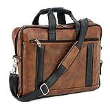 Storite Pu Leather 14 inch Laptop Messenger Sling Office Shoulder Travel Organizer Bag for Men & Women (39 x 28 x 6 cm, Black/Brown)