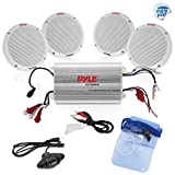 """2012 Ford Fusion Air Bag Parts & Components - Pyle Marine Receiver Speaker Kit - 4-Channel Amplifier w/ 6.5"""" Speakers (4) Waterproof Poly Bag 3.5mm Jack RCA Adaptor for MP3/iPod & Volume Gain Remote Control & Power Protection Circuitry - PLMRKT4A"""