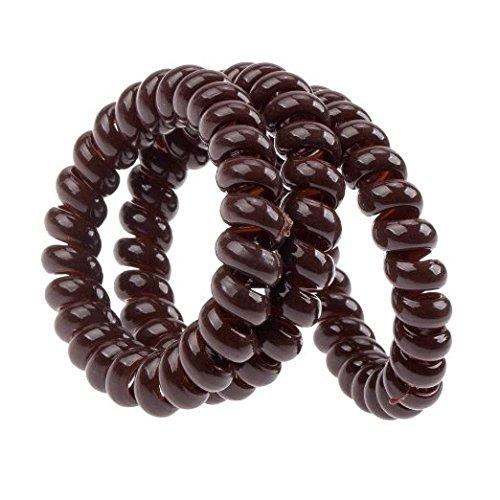 3 x Anneaux Cheveux Spirales En Plastique, Couleur Brun - Pour Tous Les Types De Cheveux by RIVENBERT