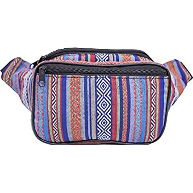 SoJourner Festival Fanny Pack - Tribal Boho Hippy Woven Eco Style (Blue & Red)