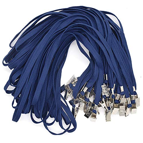 Navy Blue Lanyards 100 Pack Bulk Badge Lanyards with Clip Neck Flat Lanyard with Badge Lanyard Bulldog Clip (Navy Blue, 100 Pack)
