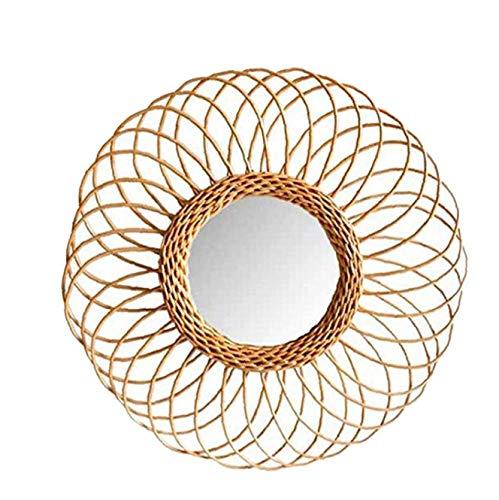 Yililay Montado en la Pared de ratán Espejo colgado del Espejo Hecho a Mano Círculo de bambú Tejido de la decoración Moderna para la Sala de baño