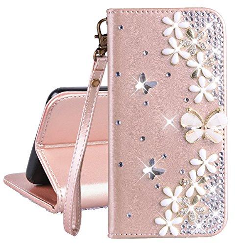Xifanzi Brieftasche PU Ledertasche Hülle für Wiko Sunny 2 Plus Flip Case Strass 3D Bling Bling Entwurf Blumen Blumen & Schmetterling Muster Bookstyle Lederhülle Schützend Handytaschen