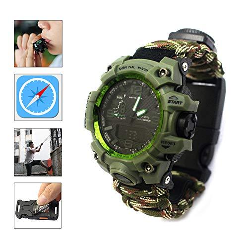 XCHUNA Outdoor Survival Watch, multifunktionale wasserdichte militärische Taktische Paracord Uhr, Camping Wandern Notfall Gear Armband,C